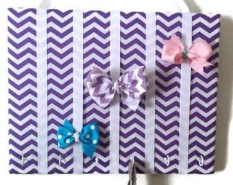 Purple Chevron Padded Hair Bow Organizer with Hooks for Headbands