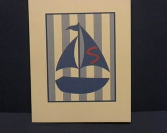 Nautical-Theme Initial Note Cards