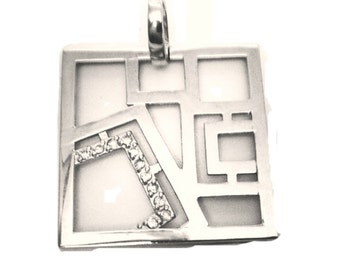 Squared SIlver Pendant With Crystal Rhinestones Silver Colored Excellent Condition  Gift for Her Gift for Mom