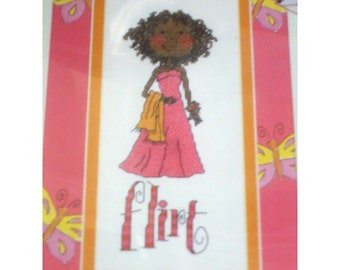 Cross Stitch Kit by Bucilla Flirt - So Girly New In Reusable Vinyl Pouch