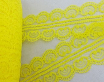 "Yellow Lace Hearts Trim-45mm1.77""-3 YDS"