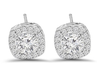 3/4CT Round Diamond Cushion Halo Studs 14K White Gold