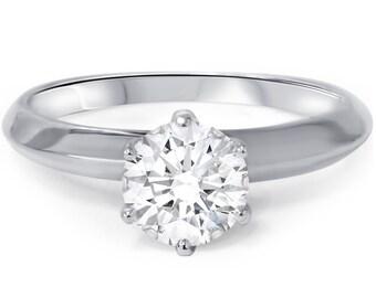 1.07CT Round Diamond Solitaire Engagement Ring 14k White Gold
