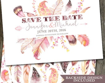 Watercolor Feathers Save The Date, PRINTABLE Wedding Announcement, Rustic Save the Date, Navajo Save the Date, Pink Save the Date