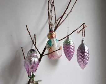 4 Vintage Christmas Tree Decorations / Glass Ornaments. Lilac and Silver. Russian Traditional Mercury Glass Baubles. SET 1