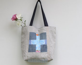 Carry-all best tote, medium size tote, quilted bag. Folk art inspired handcraft. Ready to ship.