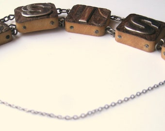 Vintage Wood and Sterling Silver Sis Sister Bracelet FREE SHIPPING