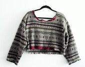 Unisex Cropped Sweater/ UpCycled Clothing Ethical Fashion Boho Mori