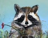 Racoon Animal Art by Laura Sue Childrens Nursery Kids Gift