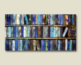 Abstract Library Books, Book Art, Canvas Giclee Modern, Large Wall Art