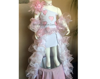 Pageant OOC Pink Valentines National Glitz Valentine Hearts talent wear sassy ruffles  custom 3/6m 18m  up to 10