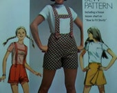 1969 Suspender Shorts & Scooter Skirt Pattern ~ Simplicity 8666 Miss 12 Hip 36. LEDERHOSEN-STYLE SHORTS Pattern and More at WhiletheCatNaps