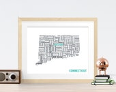 Connecticut Typography Map 8x10 Print