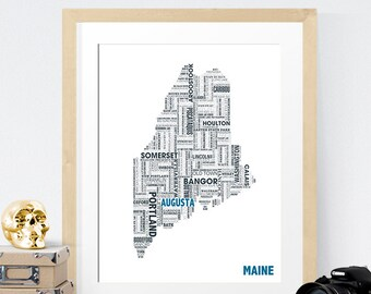 Maine Typography Map 8x10 Print
