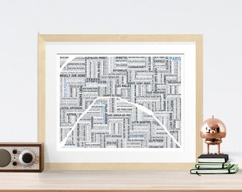 Paris Typography Map 8x10 Print