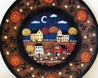 Halloween Folk Art Hand Painted Plate, Primitive Decor, Saltbox Houses, Barn, Sheep, Witch Picking Pumpkins, Moon and Clouds, MADE TO ORDER