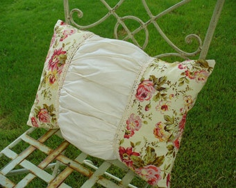Country Garden Floral Ruched Decorative Pillow by WeeWoollyBurros