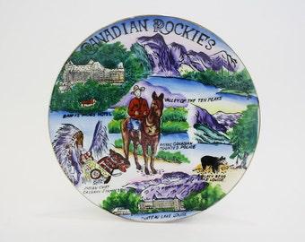 Vintage Canadian Rockies Hand-Painted Souvenir Plate (E5620)