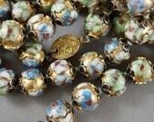 vintage Chinese Cloisonne Necklace .  enamel beads.  antique No.00401 cs