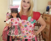 Girls Chef & Doll Chef Dress Up- Matching Aprons and Chef Hats Set-American Girl Grace Paris Bakery Themed Ready to Ship
