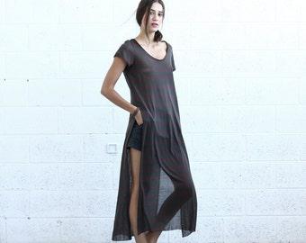 Striped Maxi T-shirt dress,Olive.