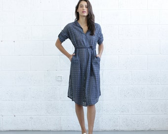 SALE 30% OF Embroidered Button down dress, Gray.