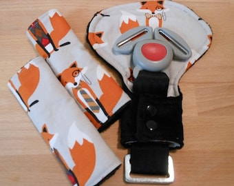 Fox And The Houndstooth Infant/Toddler Reversible Car Seat Strap And Belly Buckle Cover