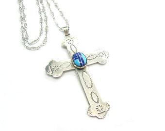 Silver Cross Necklace. Southwestern Sterling Pendant. Faux Turquoise Lapis. Hand Stamped. Vintage Native American Style Jewelry. 1970s.