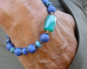 Spiritual, Healing, Love Protection Bracelet with Matte Lapis Lazuli, Chrysocolla, Hematites, Faceted Brazilian Green Agate - Bohemian