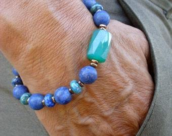 Spiritual, Healing, Love Protection Bracelet with Matte Lapis Lazuli, Chrysocolla, Hematites, Faceted Brazilian Green Agate - Bohemian