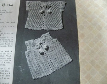 PDF Digital File Knitting Instructions Infant Sacque Set 2510 and 2511 Vintage Knitting and Crochet Instructions Baby Sacque and Sacque Vest