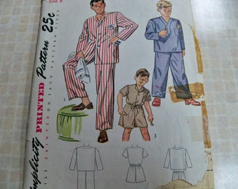1948 Size 8 Simplicity 2548 Chest 26 Boys Pajamas Sewing Pattern Supply Drawstring Waist Long Trousers Pullover Top Shorties Boys PJs c