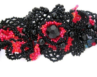Beaded cuff bracelet, Black and red bracelet, Beaded bracelet Freeform beading, Statement bracelet cuff, Beaded jewelry, Gift for women