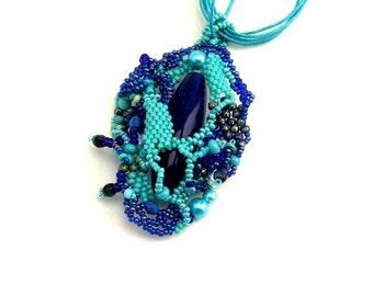 Boho jewelry necklace, Blue beaded necklace, Beaded jewelry, Turquoise, cobalt blue, Beadwork