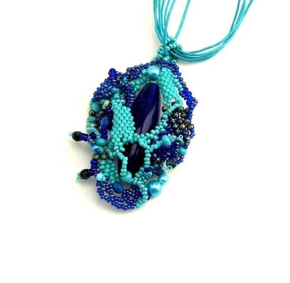 boho schmuck halskette blau perlen collier glasperlen. Black Bedroom Furniture Sets. Home Design Ideas