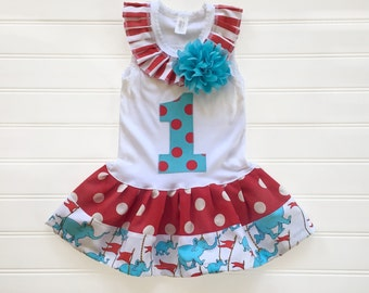 Girls Circus Dress. Baby Toddler Birthday Carnival Theme Outfit. Dr. Seuss.
