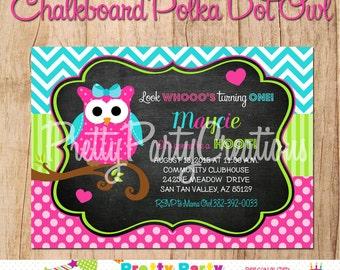 CHALKBOARD polka dot OWL Birthday or baby shower invitation - YOU Print