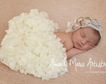 newborn Pettiskirt - infant tutu- tutu photoprop- ivory pettiskirt- baby lace tutu- lace baby skirt- girls tutu- baby pettiskirt- baby tutus