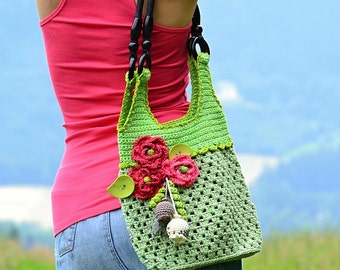 Crochet bag with red poppies - crochet pattern, DIY