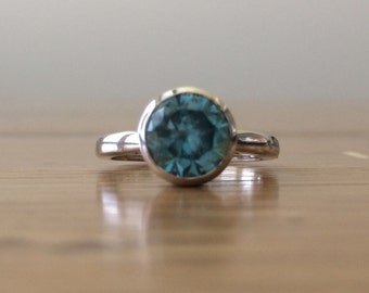 Blue Zircon Ring-Zircon Ring-14k Gold Ring-Blue Gemstone Ring-Handmade Jewelry-Something Blue-Fine Jewelry-bskdesigns-Simple Ring