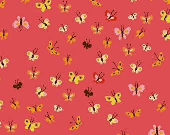 Tiger Lily Butterflies in Coral, Heather Ross, Windham Fabrics, 100% Cotton Fabric, 40933-9