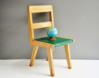 Early Mid-Century Wood and Vinyl Child's Chair