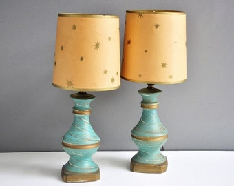 Mid-Century Turquoise and Gold Lamp with Starburst Shade