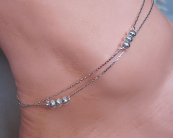 Petite Liquid Silver Double Chain Anklet with Textured Silver Beads with Extender