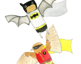 Kids Wall Art, Batman & Robin Print - Limited Edition 8x10 Print by Jennie Deane