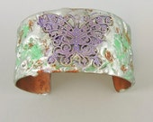 Small Copper Cuff Stamped Solder Butterfly Design, Cuff Bracelet, Butterfly Jewelry, Nature Cuff Copper Bracelet, Flooded Solder Cuff