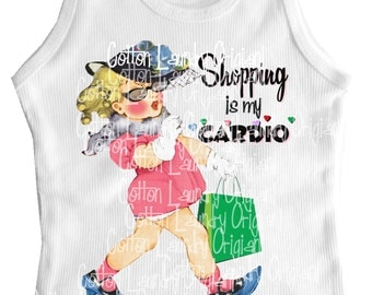 Shopping is my cardio tank tee shirt one piece body suit tshirt Vintage inspired childrens tshirt Shopping is my cardio