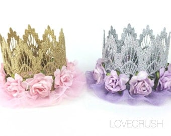 ORIGINAL ballerina flower lace crown headband   Easter Spring Birthday  pink or lavender  Gold or Silver   any age