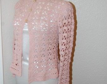 Crochet Cardigan Pink 90 cotton/10 alpaca size small/medium