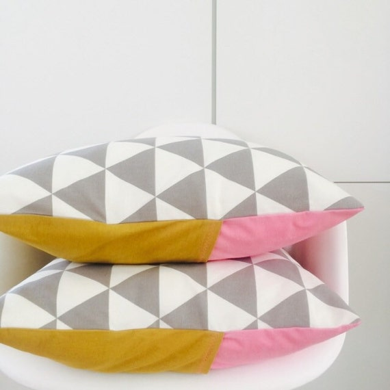 "SALE Modern Grey Triangle Pattern Pillow Cover 20""x20"" Square Cushion Graphic Geometric Motif with Pink and Yellow Linen"